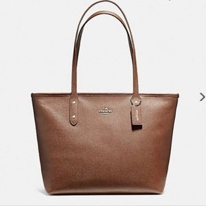 NWT Coach Saddle Brown City tote